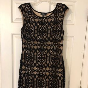 Black Lace and Beige Dress Barn Cocktail Dress